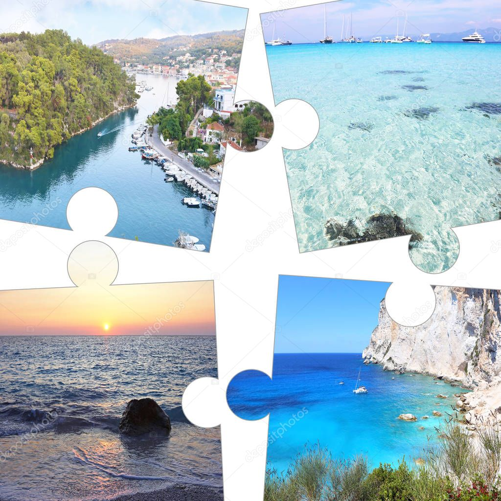 photo collage in puzzle pieces of Paxos and Antipaxos Ionian islands Greece