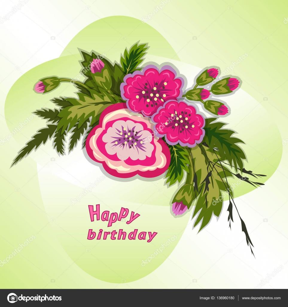 Vettore Di Fiori X Augurare Buon Compleanno Composizione