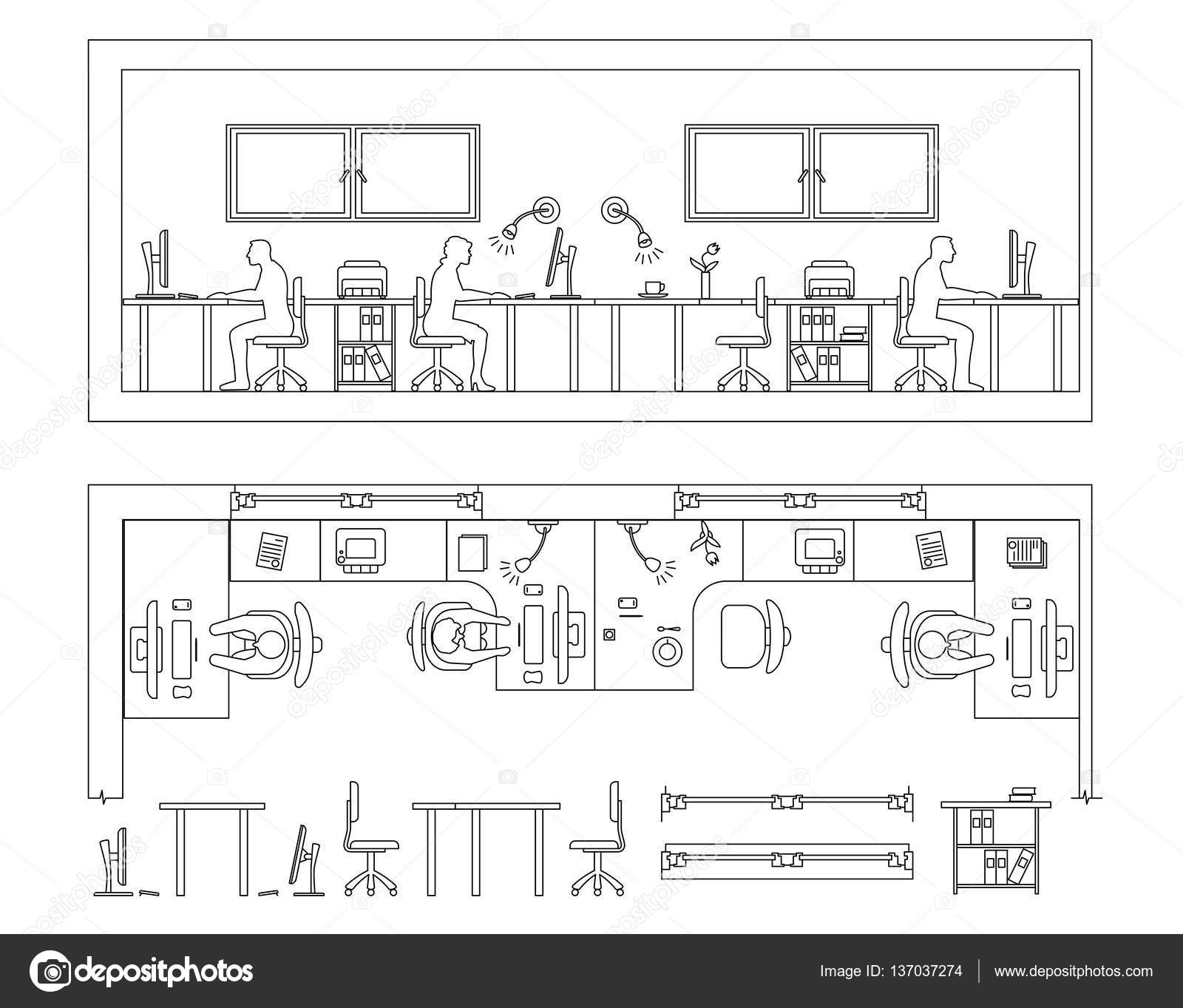 Architectural Set Of Furniture Design Elements For Floor Plan