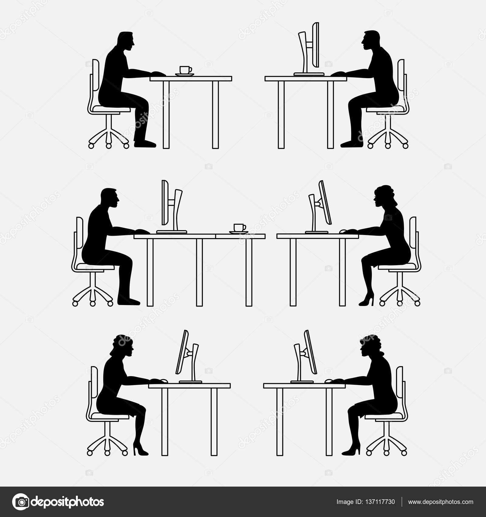 Architektonische Reihe von Möbeln mit Menschen. Sitzen Mann und Frau ...
