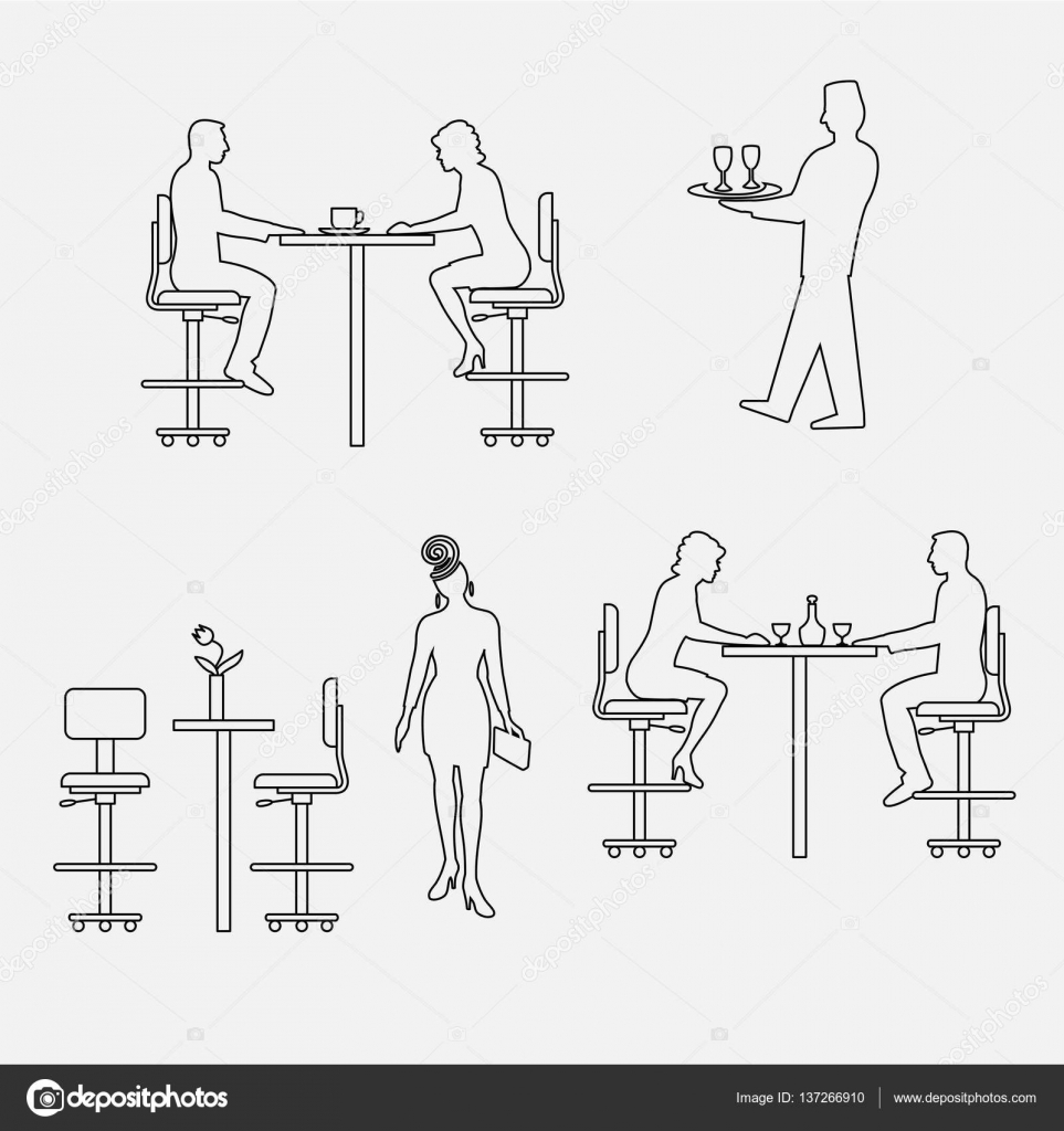 Architectural Set Of Furniture With People Sitting Man