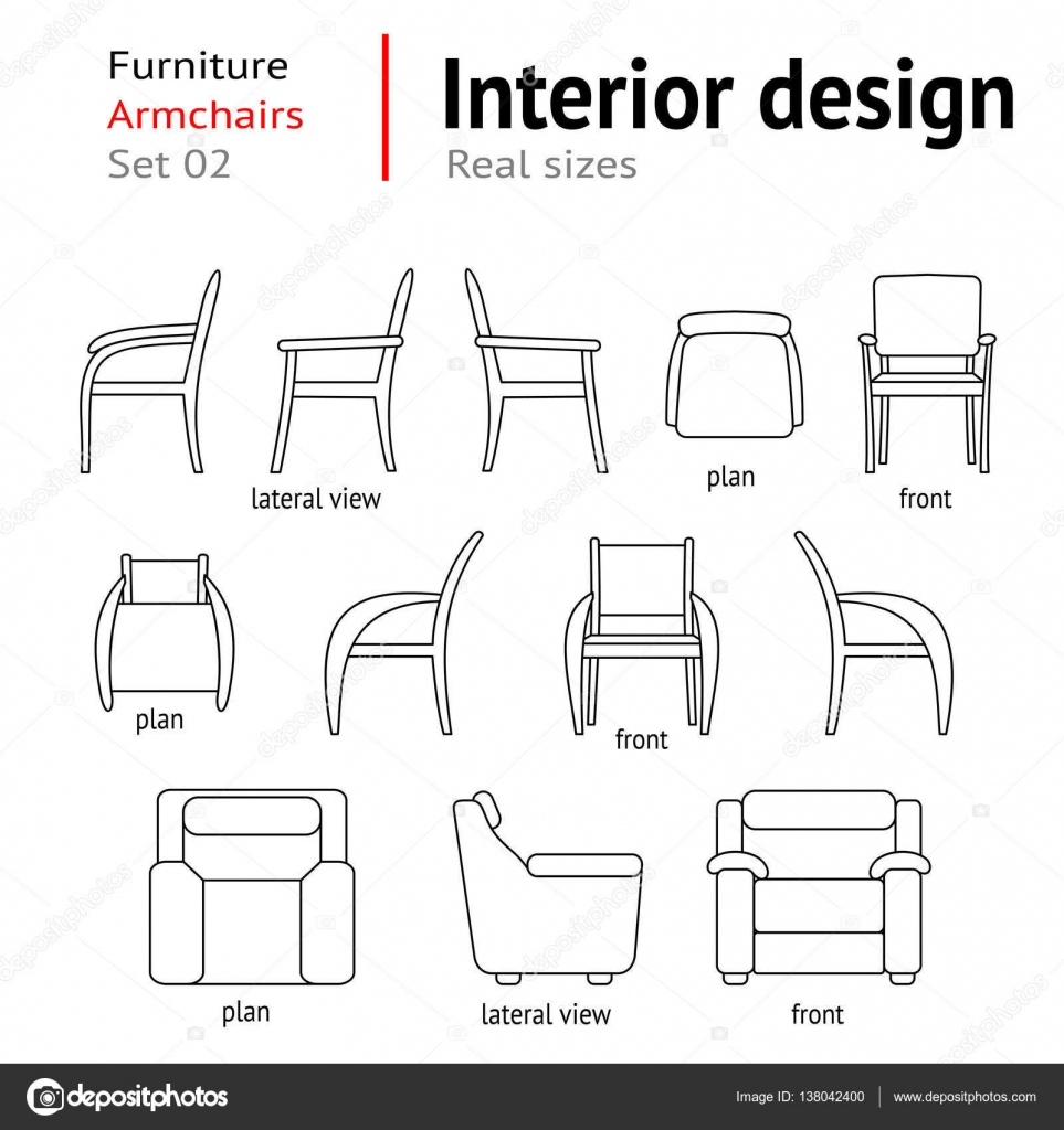 Architektonische Dunne Linie Symbole Festgelegt Mobel Sitze