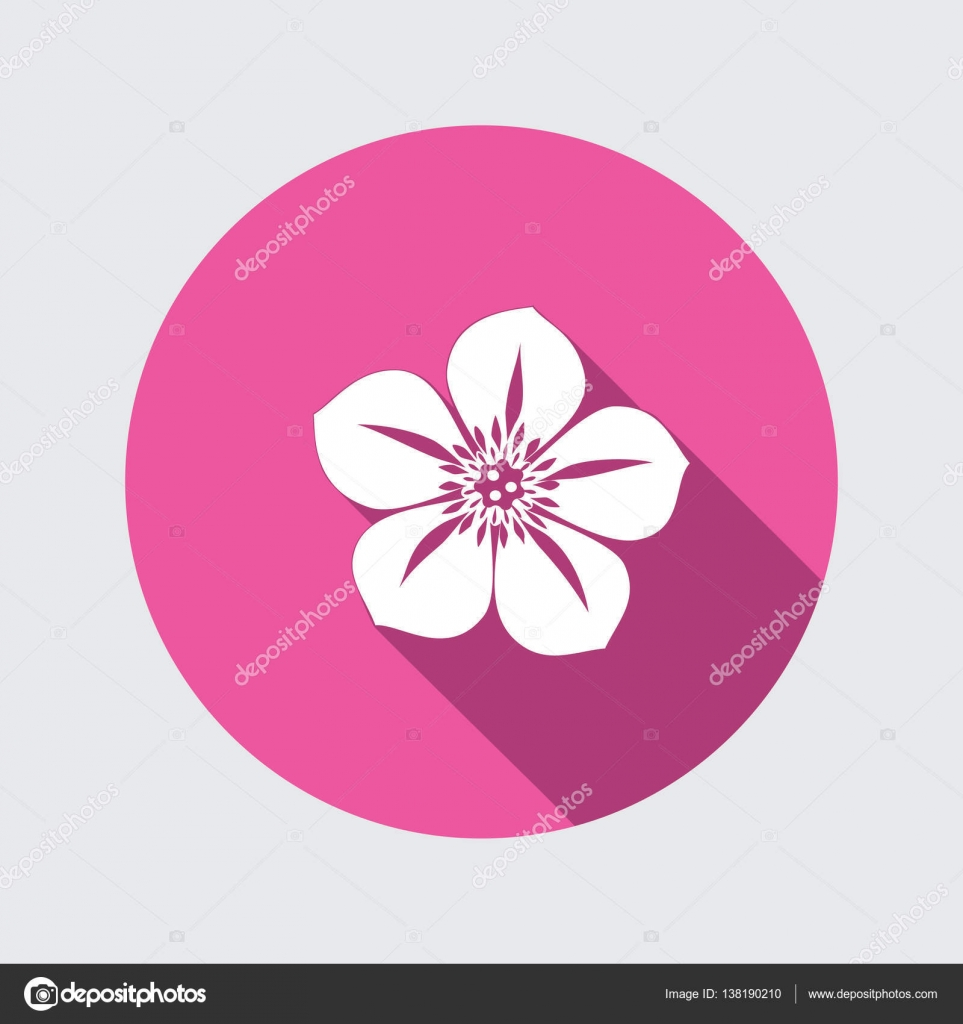 Petunia flower icons floral symbol round circle flat icon with petunia flower icons floral symbol round circle flat icon with long shadow vector dhlflorist Images