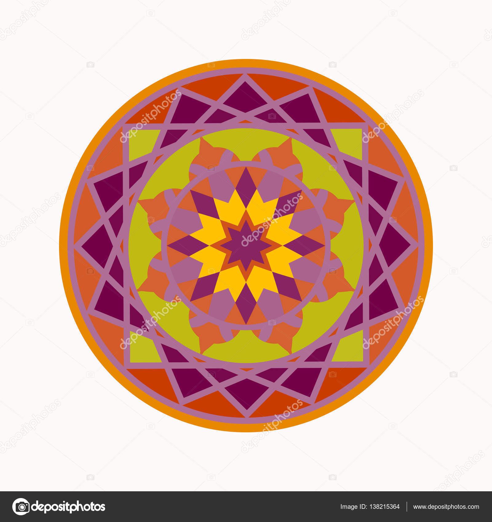 Mandala Ikona Kolorowy Tatuaż Geometryczne Okrągły Ornament