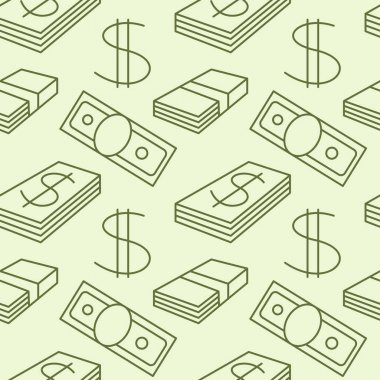 Currency seamless pattern. Dollar sign background. Texture with USD paper money  symbols. Dark objects on light . Green colors. Vector