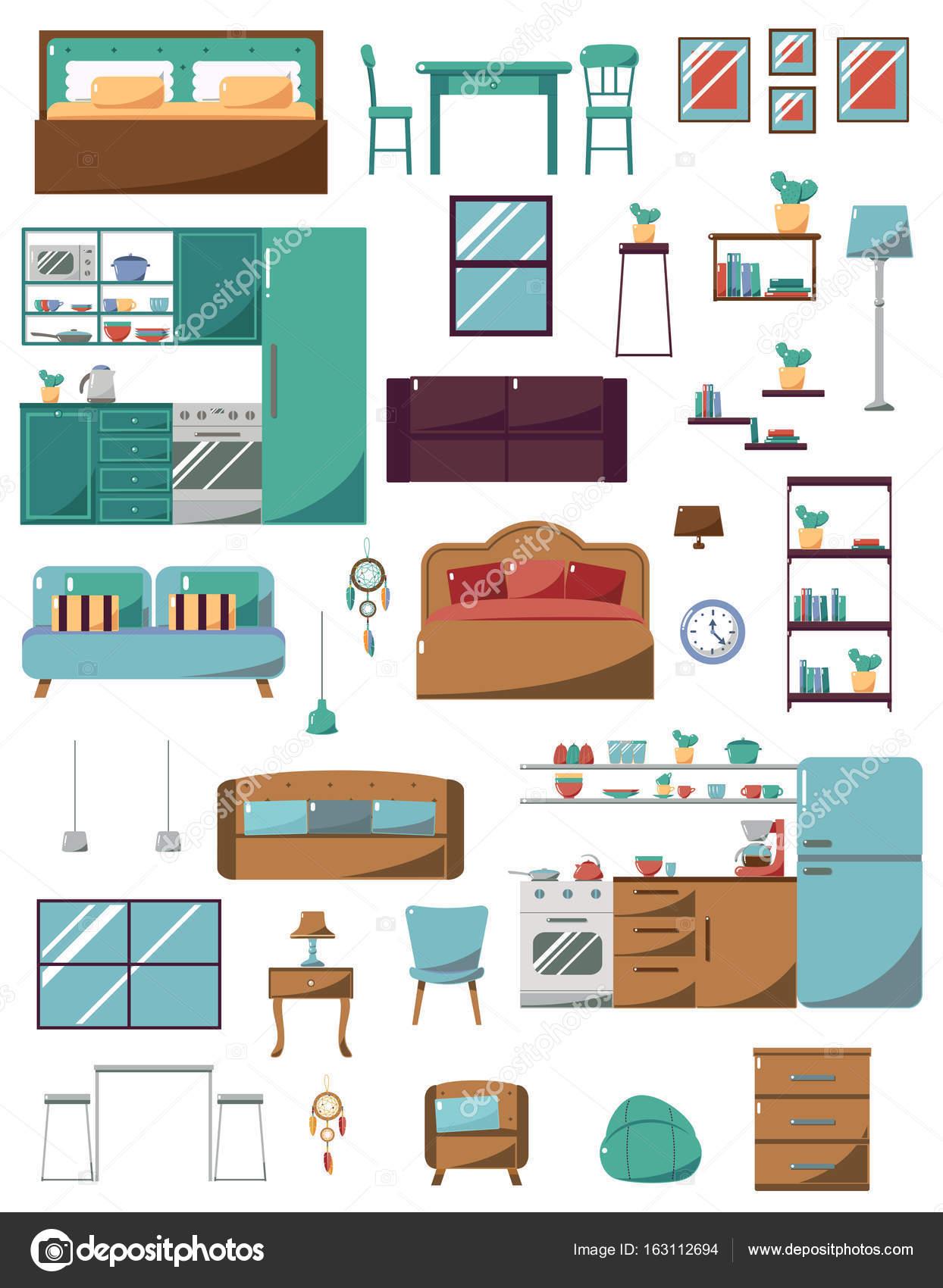 AuBergewohnlich Möbel Für Wohnzimmer, Schlafzimmer, Küche, Bad. Flat Style U2014 Stockvektor