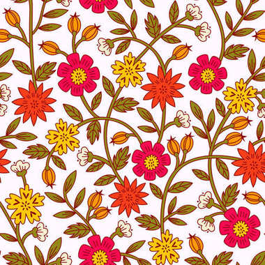 Seamless Colorful Floral Pattern  with Flowers and Leaves. Hand Drawn Vector Illustration.