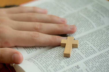 A bible and rosary