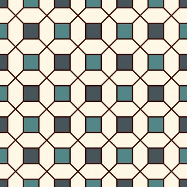Repeated blue squares abstract background. Minimalist seamless pattern with geometric ornament. Checkered wallpaper.
