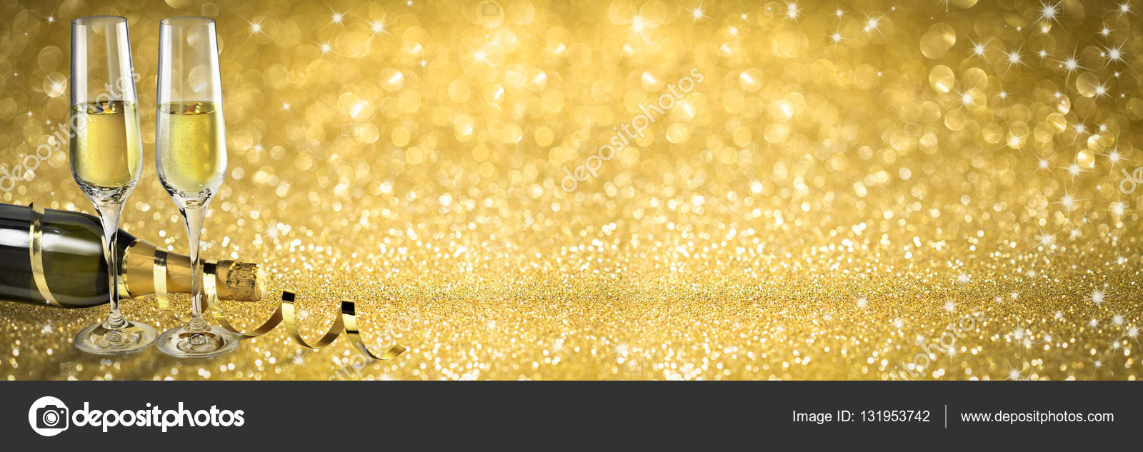 new year toast champagne banner golden background stock photo