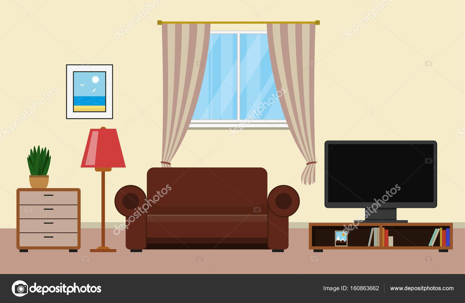 Soggiorno con mobili di design di interni — Vettoriali Stock ...