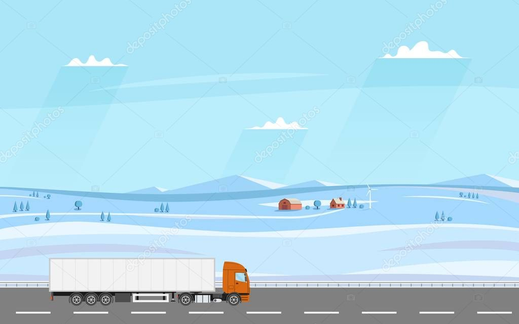 Truck on the road. Winter rural landscape with farm. Heavy trailer truck.