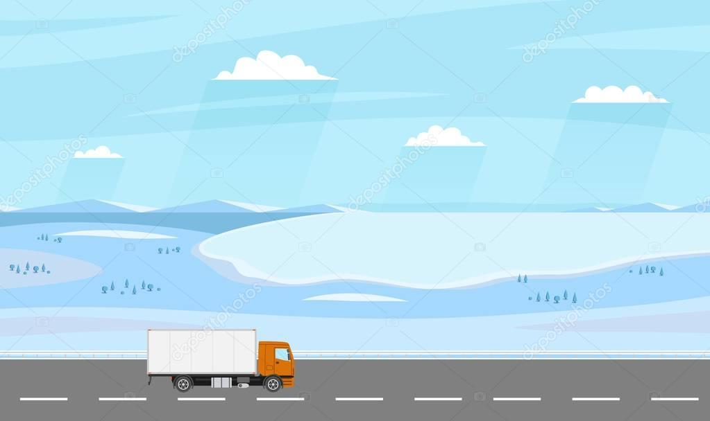Truck on the road. Winter rural landscape with farm. Heavy trailer truck. Logistic and delivery concept.