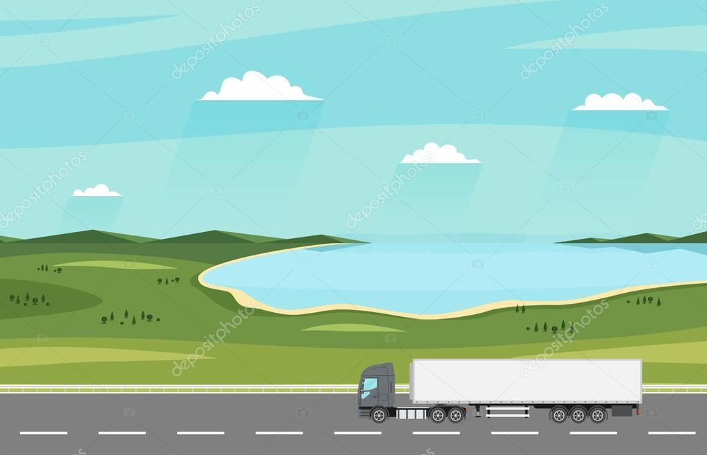 Truck on the road. Summer rural landscape with lake. Heavy trailer truck. Logistic and delivery concept.