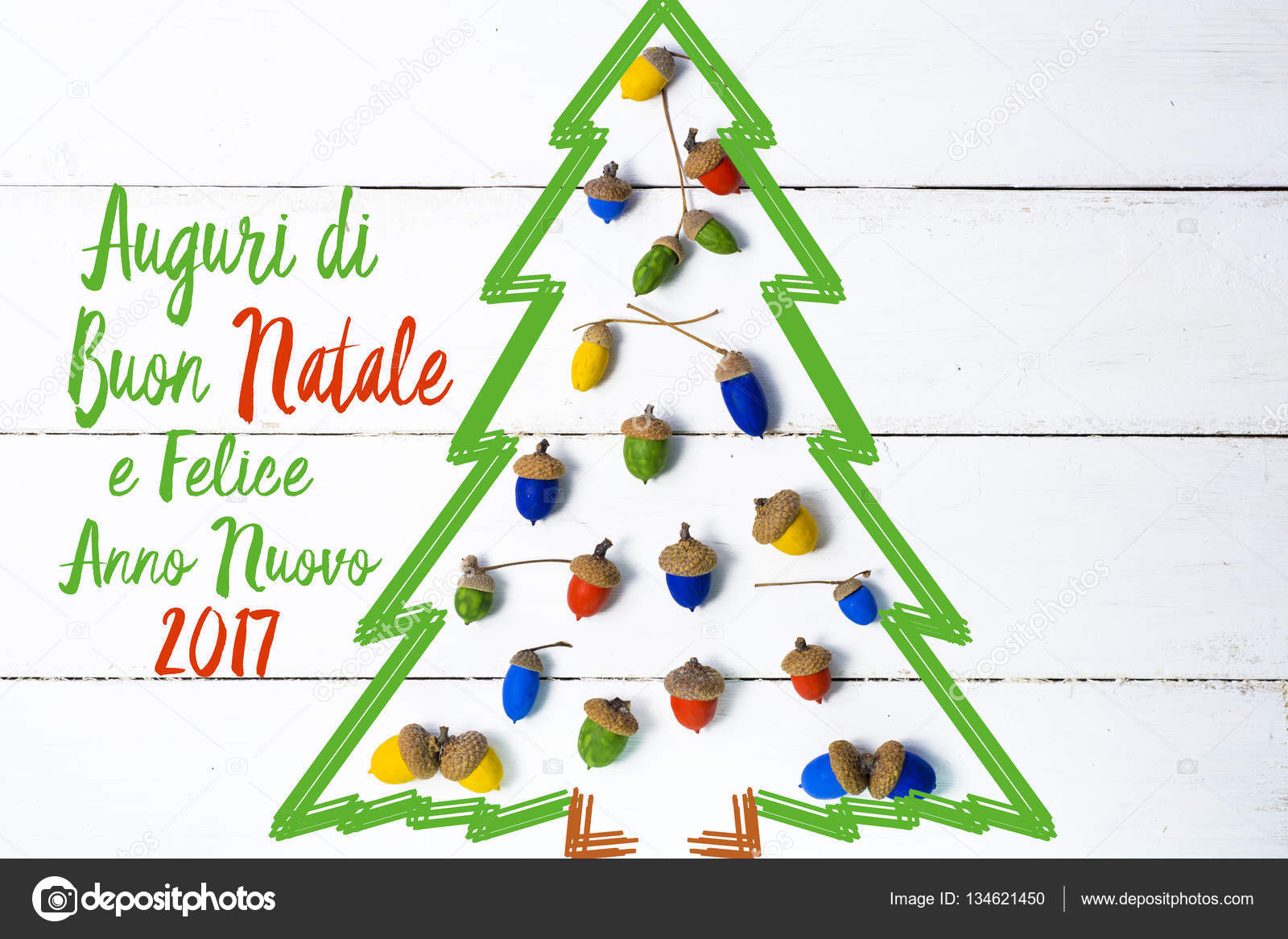 Merry Christmas and Happy New Year in Italian language. handmade ...