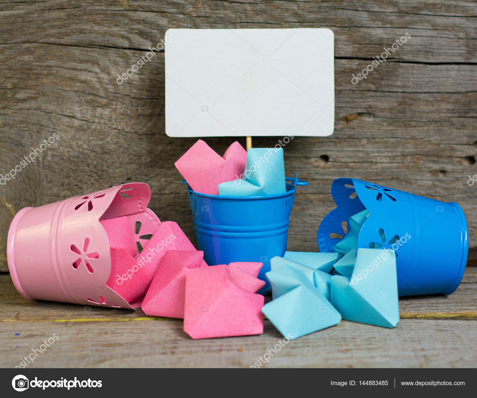 Paper Hearts Pink And Blue Color In Decorative Buckets Abstract