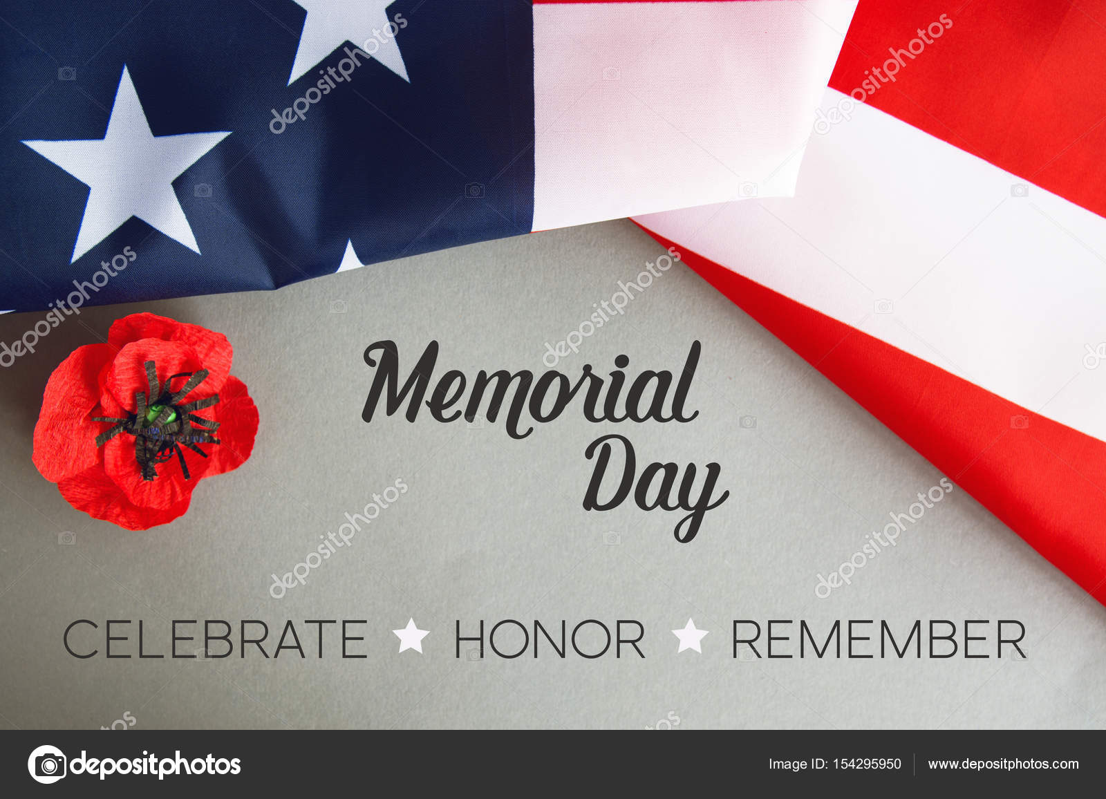 Text Memorial Day On American Flag And A Poppy Flower Background