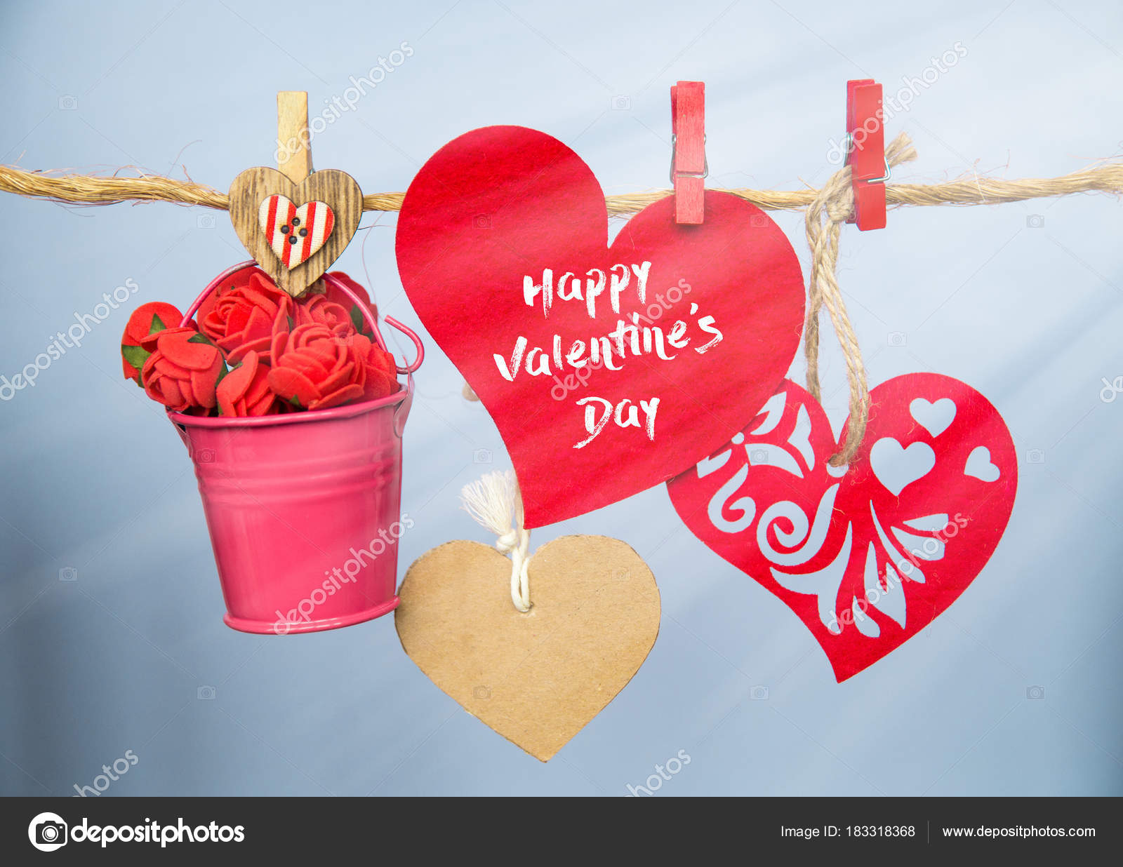 Red Hearts Clothespins Hanging Clothesline Date Love Happy