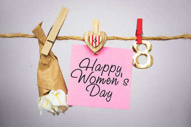 Happy Women's Day Card. celebrate 8 March, lollipop shape figure eight 8, note for text, flowers in colored buckets