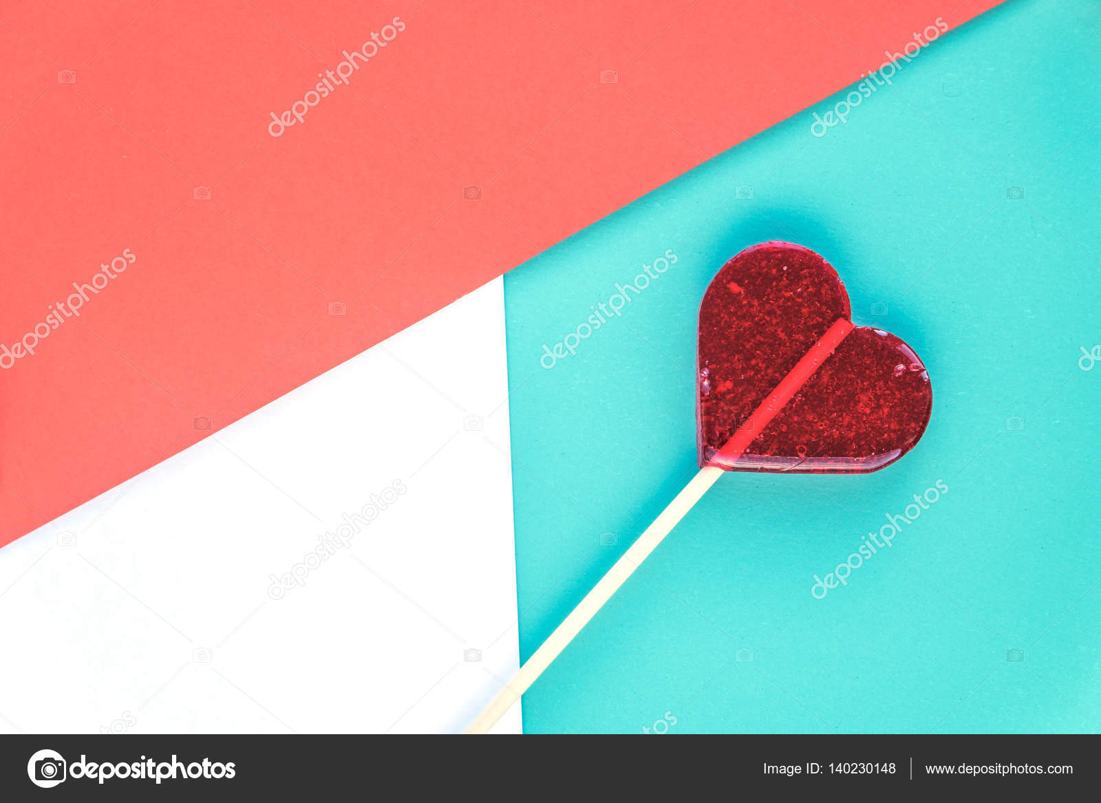 Valentines Day Greeting Cards With Heart Lollipop On The Background
