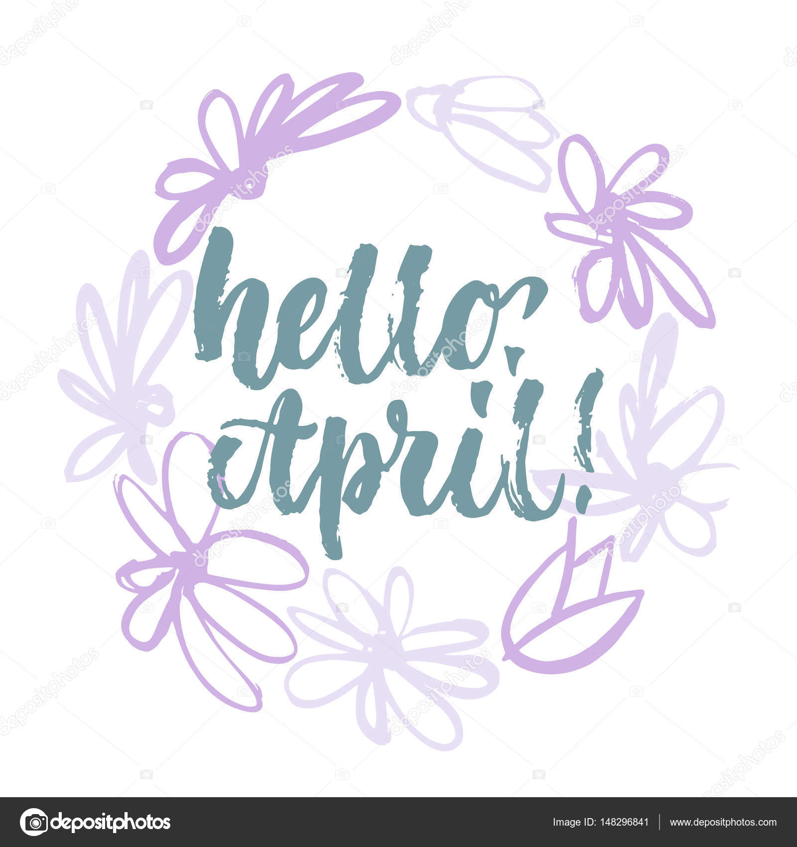 Hello april handwritten lettering calligraphy in the sketch hand hello april handwritten lettering calligraphy in the sketch hand drawn flowers wreath stock vector altavistaventures Image collections