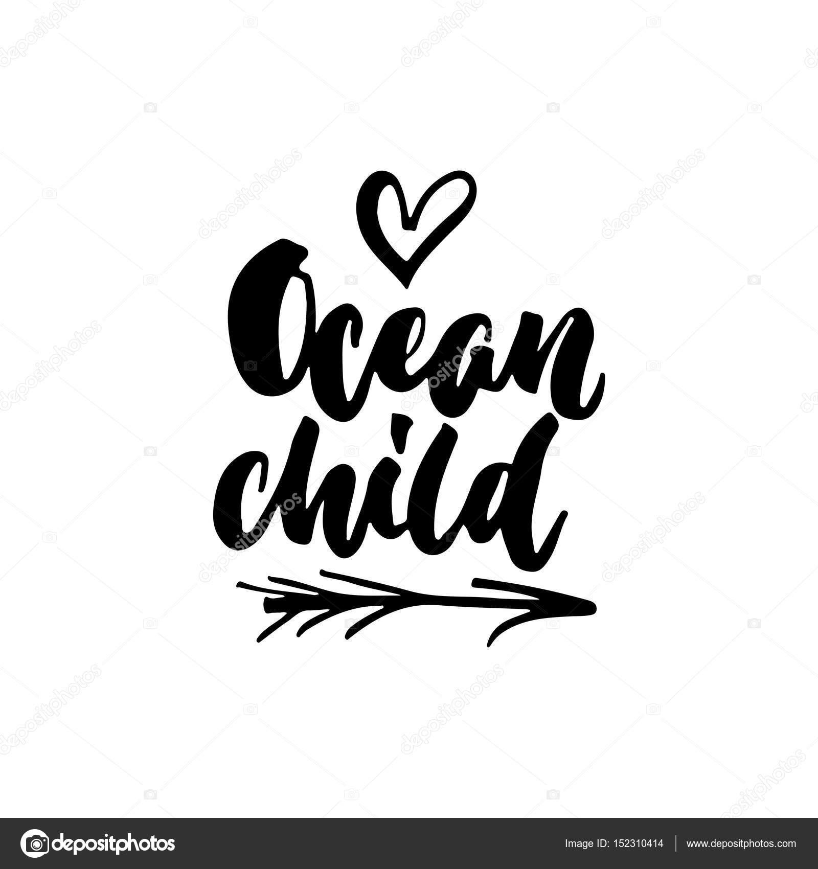Ocean Kinder Hand Gezeichnete Schrift Zitat Auf Dem Weißen