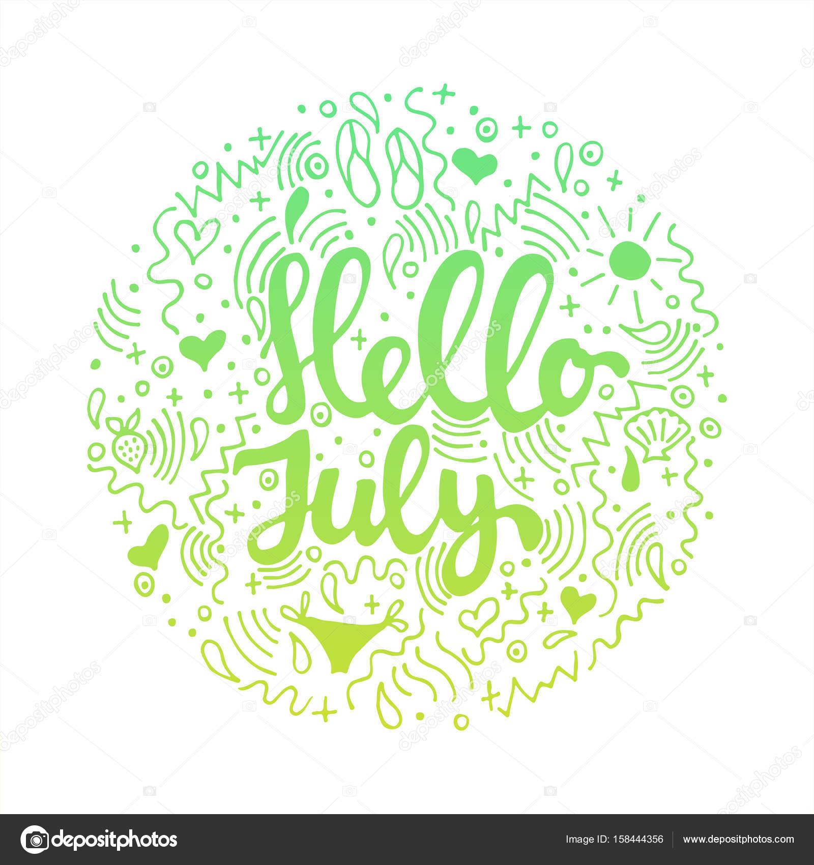 Hello, July   Hand Drawn Summer Circle Colored Lettering Quote Isolated On  The White Background.