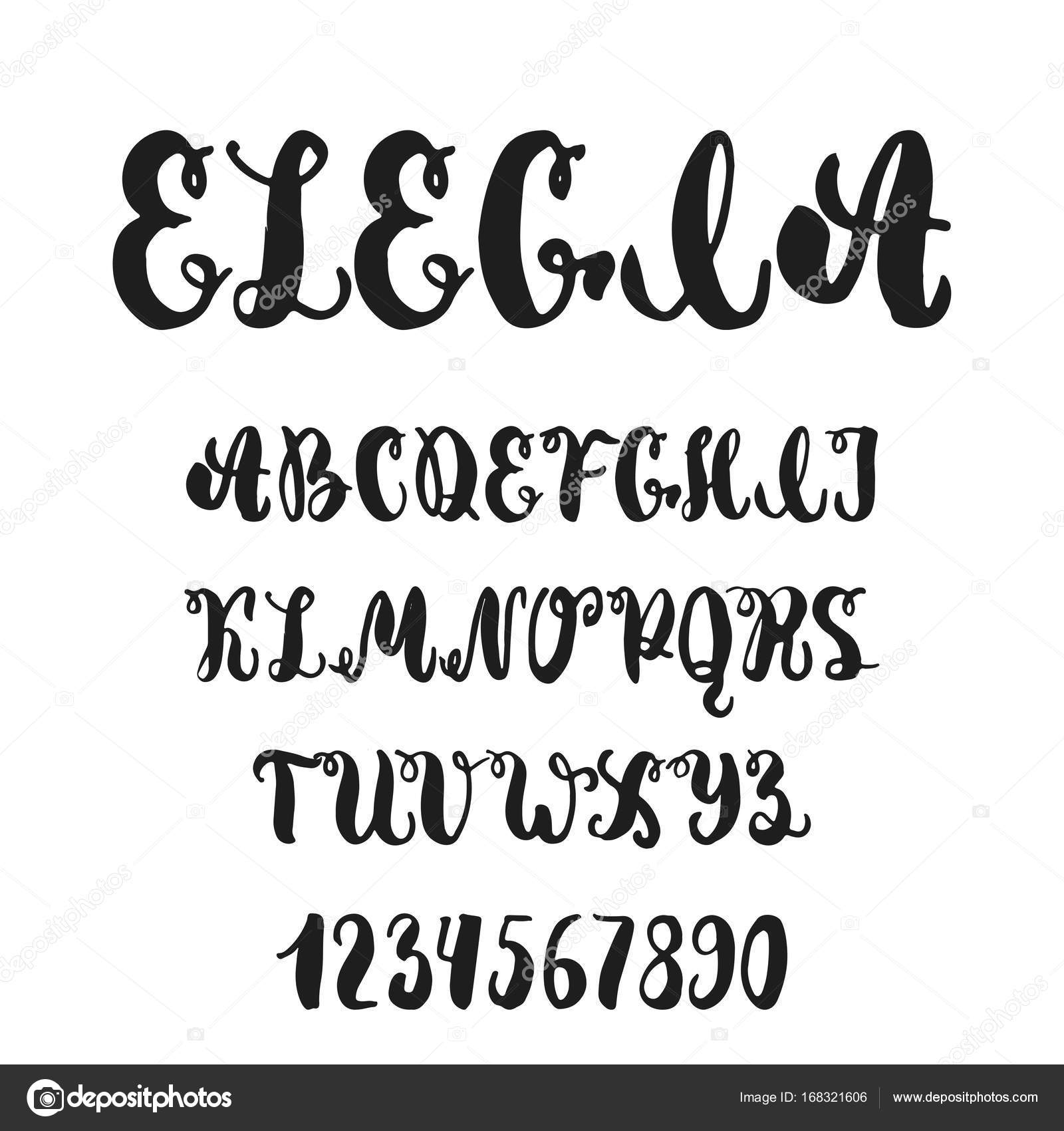 Hand Drawn English Lettering Alphabet Elegia With Examples Of This Font Modern Ink Brush Handwritten