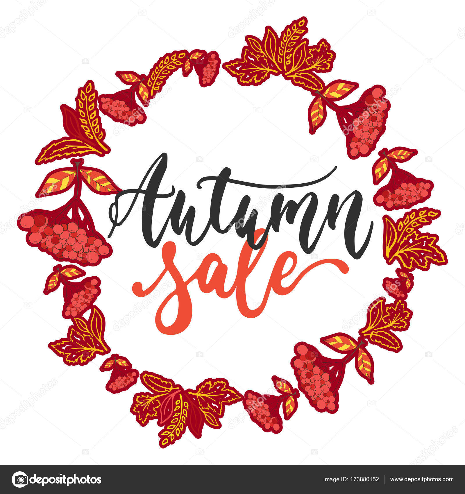 Charming Autumn Fall Sale   Hand Drawn Latin Lettering Quote With Wreath From Leaves  Isolated On The White Background. Fun Brush Ink Inscription For Greeting  Card Or ...