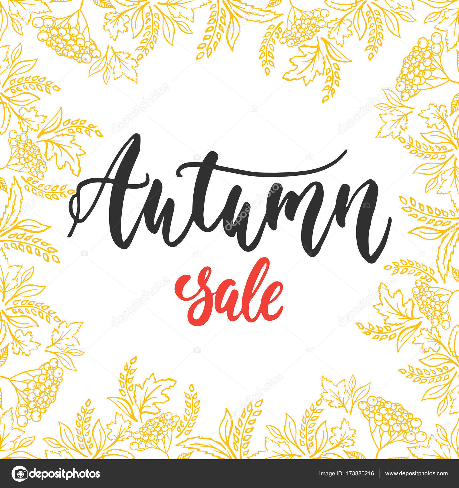 Autumn Fall Sale   Hand Drawn Latin Lettering Quote With Wreath From Leaves  Isolated On The White Background. Fun Brush Ink Inscription For Greeting  Card Or ...