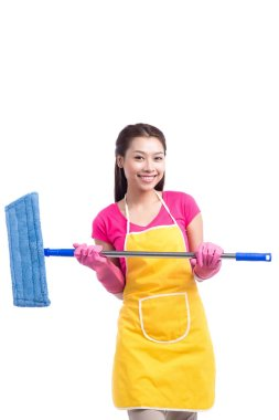 Woman doing housekeeping stuff at home isolated on white background