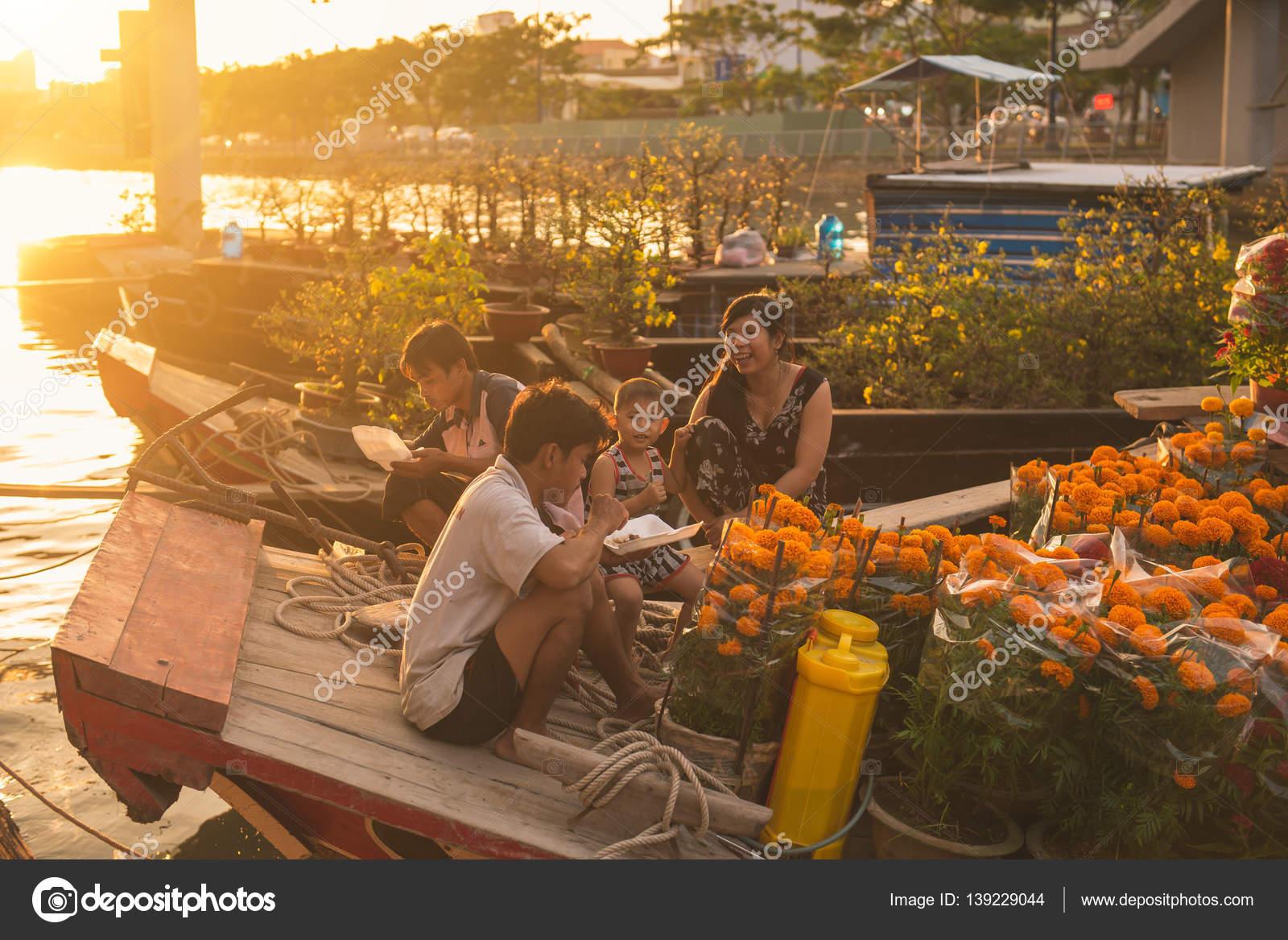 Binh Dong Floating Flower Market.Ho Chi Minh City Vietnam Jan 24 2017 Ben Binh Dong Flower