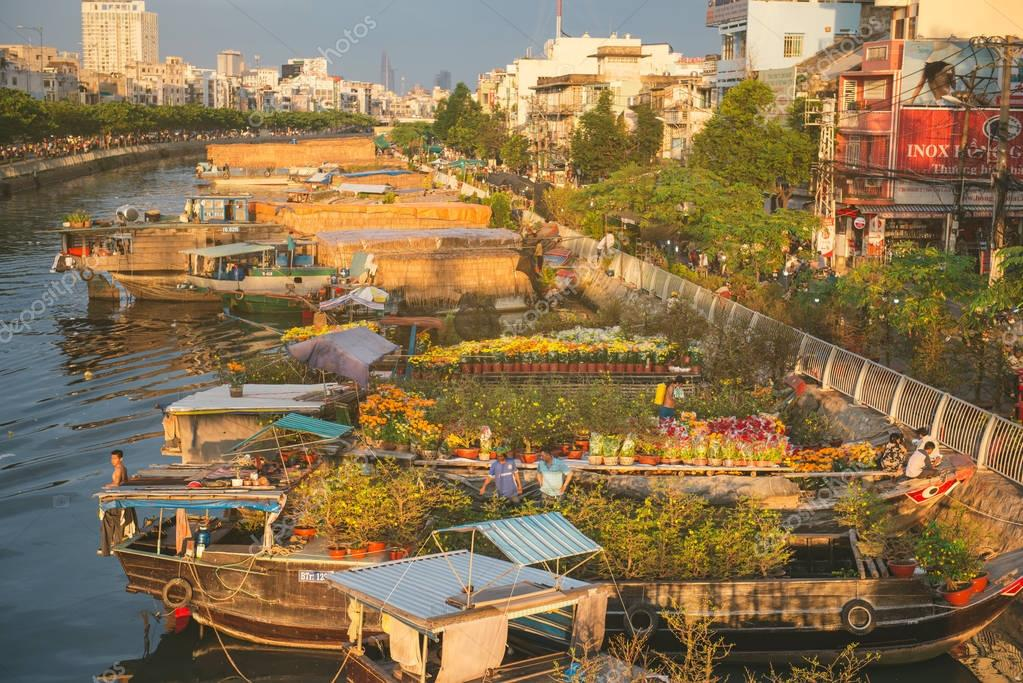 HO CHI MINH CITY, VIETNAM - Jan 24, 2017: Ben Binh Dong flower floating market
