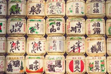 collection of Japanese sake barrels