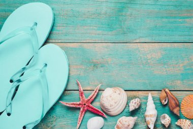 flip flops, seashells and starfish