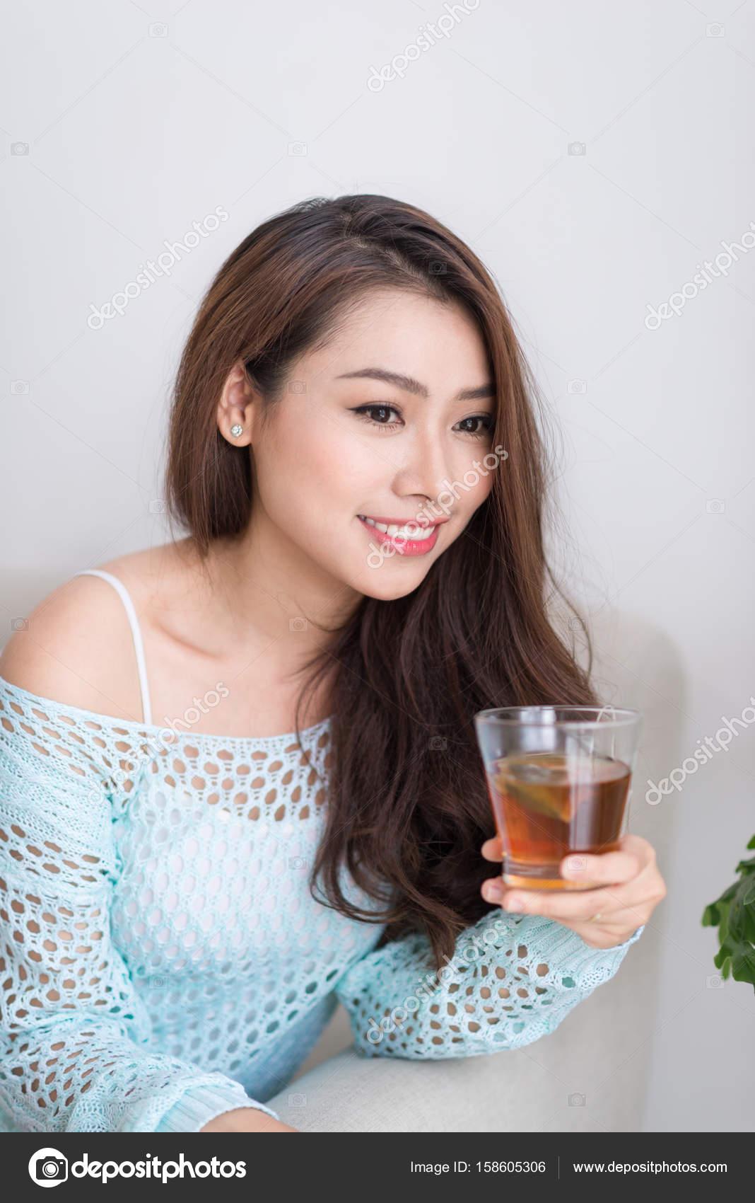 woman drinking Asian