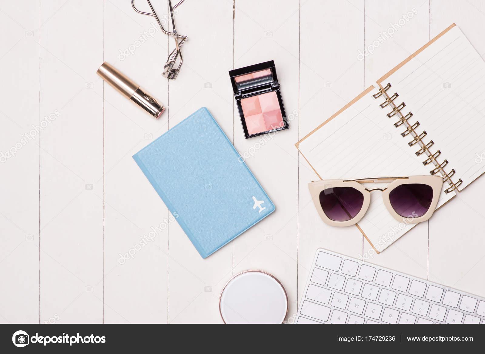 8401262db1f Women Cosmetics Fashion Items Table Camera Passport Top View — Stock ...