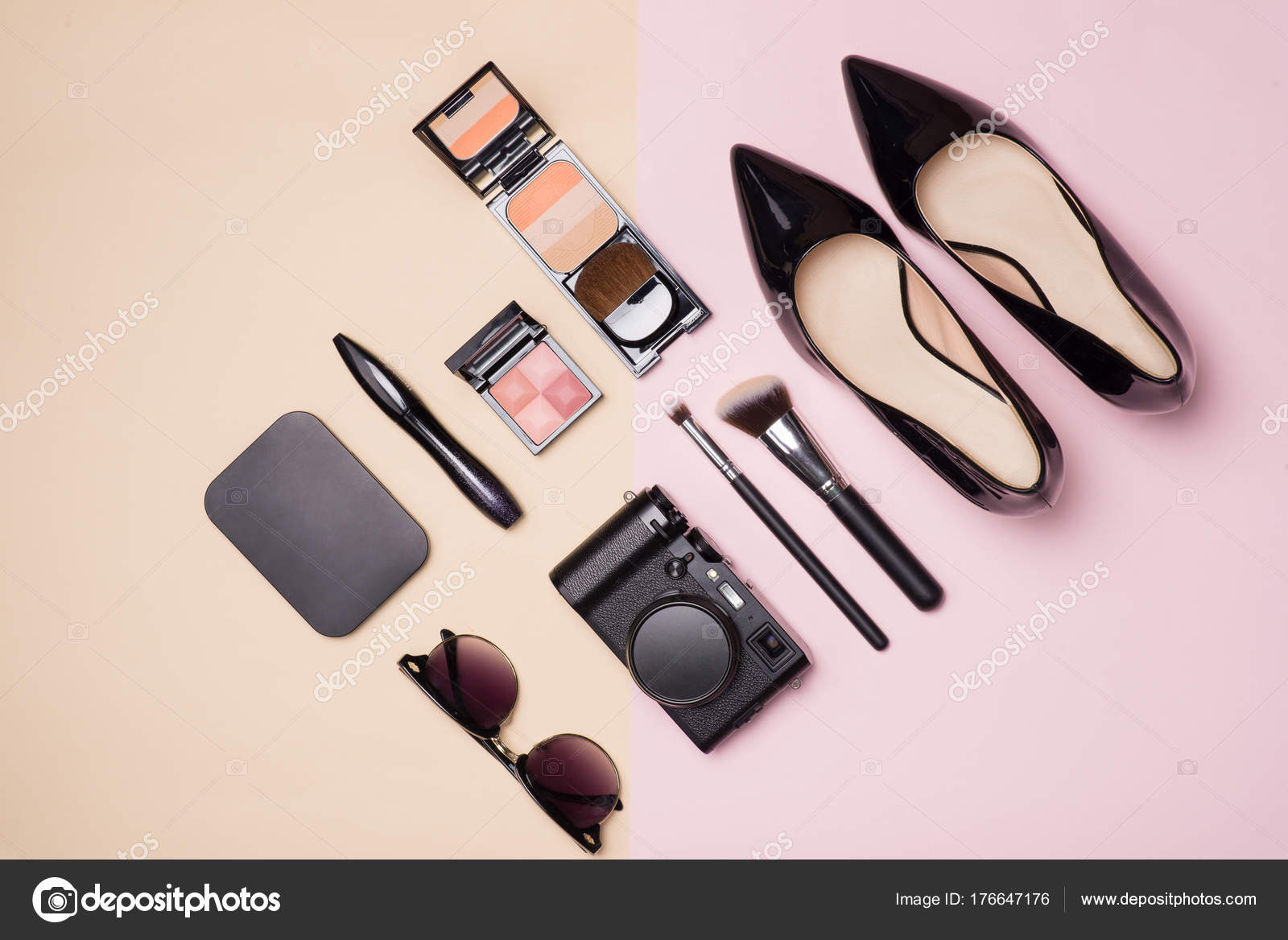 Collection Make Cosmetic Beauty Camera Shoes Light Color Background