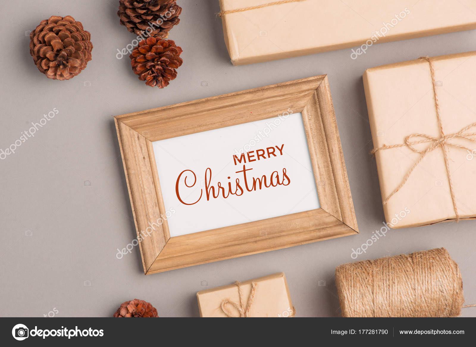 Fondo Navidad Con Cuadros Marco Conos Regalo — Fotos de Stock ...