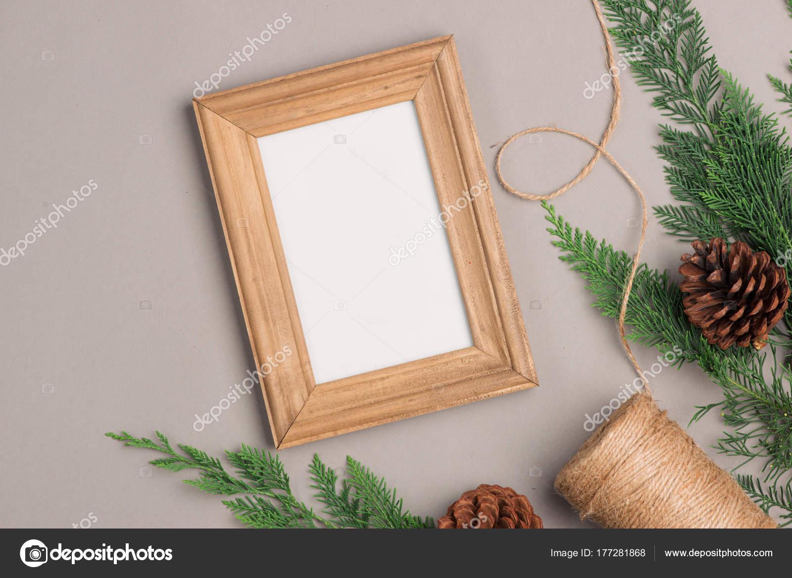 Fondo Navidad Con Cuadros Marco Conos Regalo — Foto de stock ...
