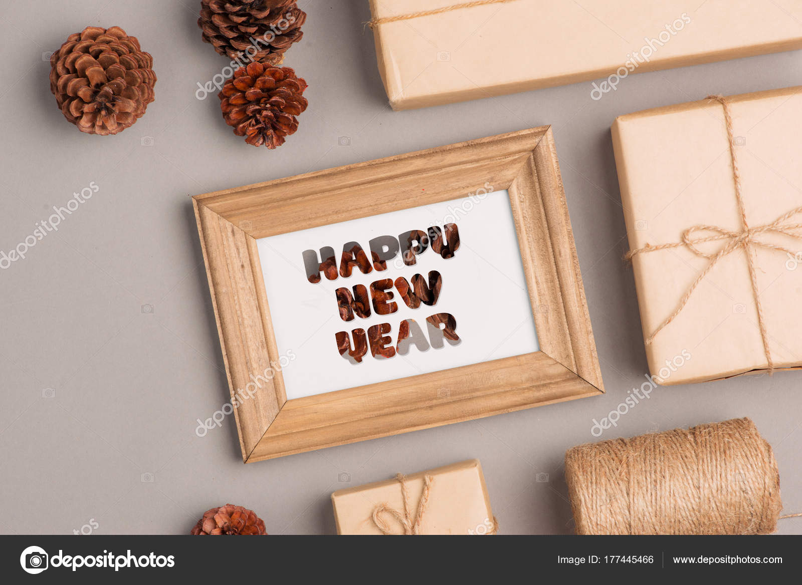 happy new year gift boxes collection wrapped kraft paper blank stock photo