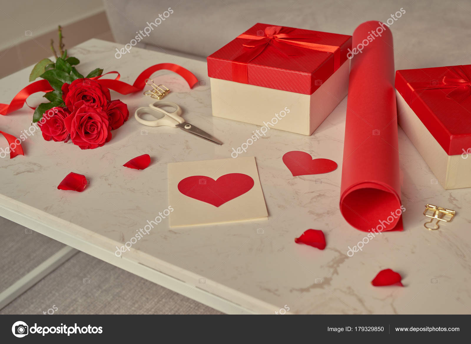 Love Gift Wrapping Rolls Paper Bouquet Roses Stock Photo