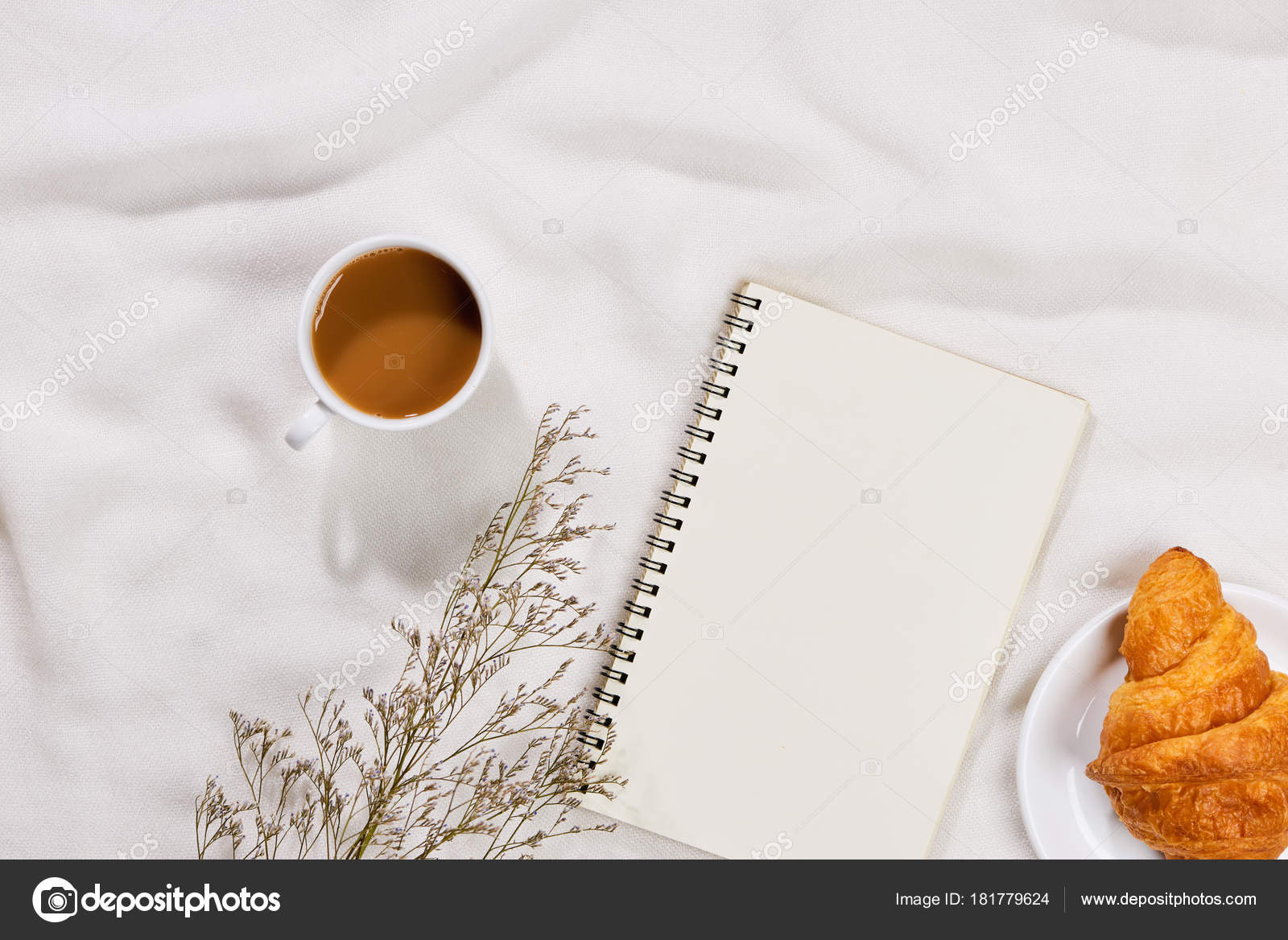 Cozy Tasty Breakfast Coffee Mug Croissant Blank Paper Note Stock Photo C Makidotvn 181779624