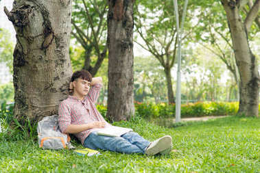 Young student, man relaxing smiling while lying on grass