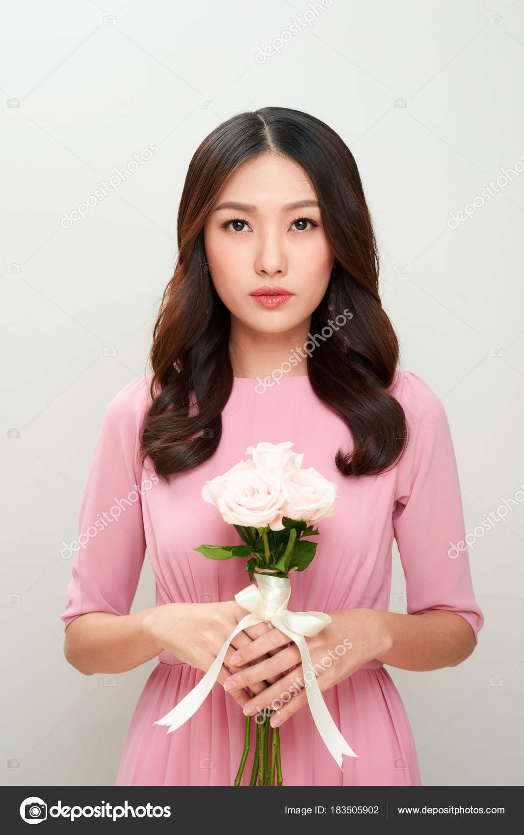 Beautiful Girl Holding Flowers Bouquet Perfect Skin Stock Photo