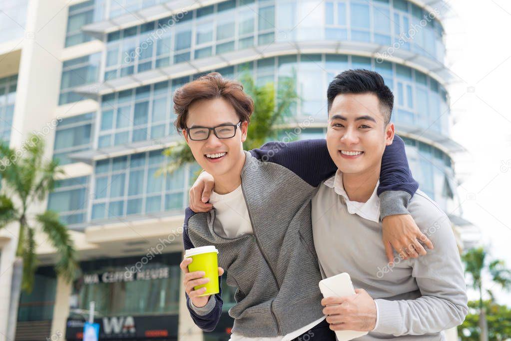 Best Friends Two Guys Hugging Walking City — Stock Photo