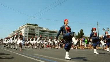 Athens, Greece - July 16, 2017: The procession of evzones moves towards the barracks after the ceremonial change of honor guard.