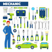 Fotografie Profession Auto Mechanic Icons Set with Tools for Car Repairs. Vector illustration