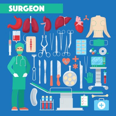 Profession Surgeon Medical Tools with Anatomy Human Organs. Vector illustration