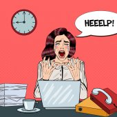 Photo Pop Art Crying Stressed Business Woman Screaming at Multi Tasking Office Work. Vector illustration